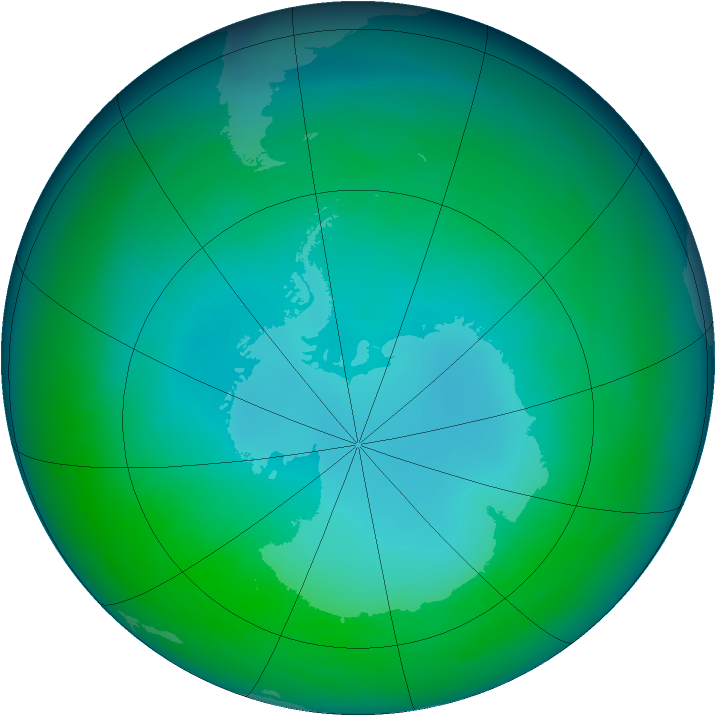 Antarctic ozone map for May 1991