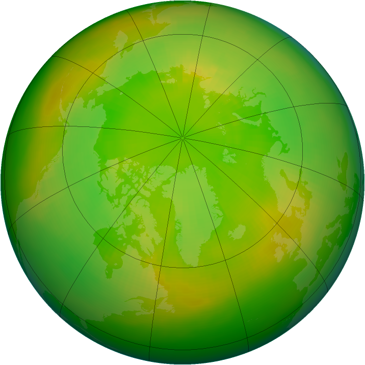Arctic ozone map for June 1991