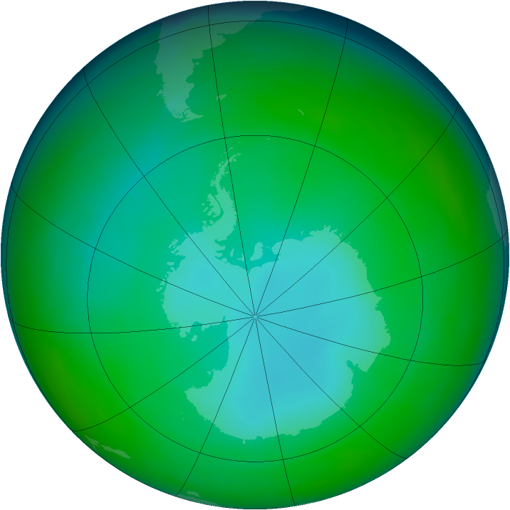 Antarctic ozone map for June 1991