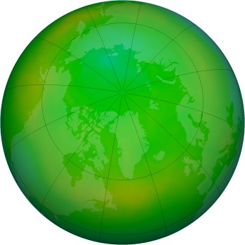 Arctic ozone map for 1991-07