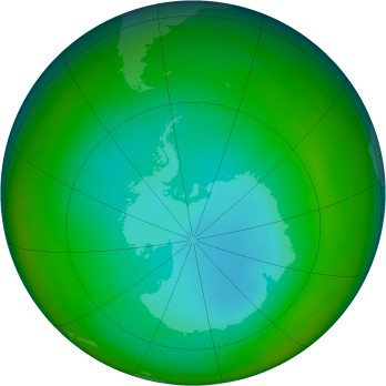 Antarctic ozone map for 1991-07