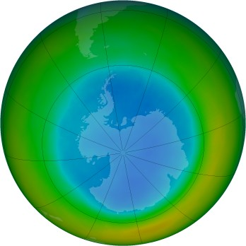 Antarctic ozone map for 1991-08