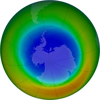 Antarctic ozone map for 1991-09