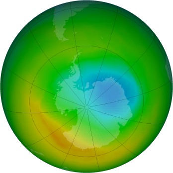 Antarctic ozone map for 1991-11