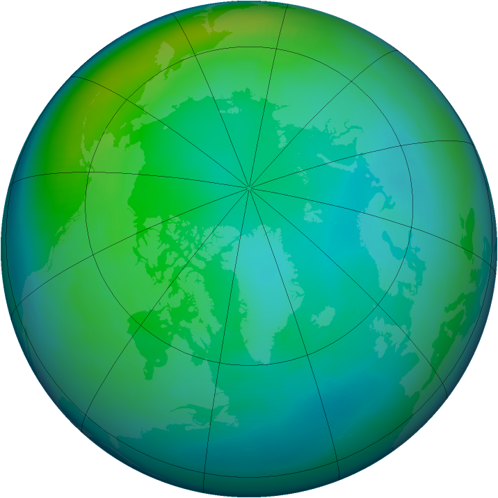 Arctic ozone map for November 1991