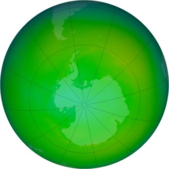 Antarctic ozone map for 1991-12
