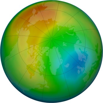 Arctic ozone map for 1992-01