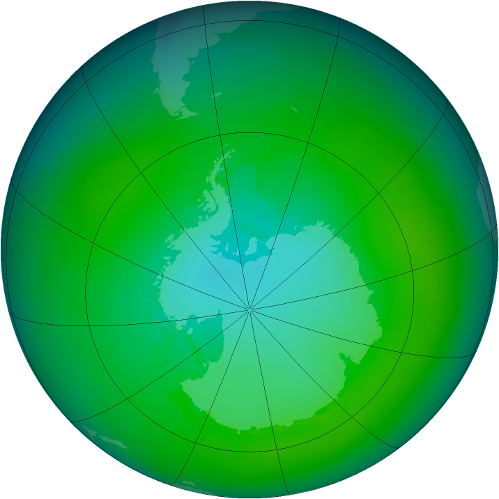 Antarctic ozone map for January 1992