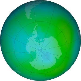Antarctic ozone map for 1992-02