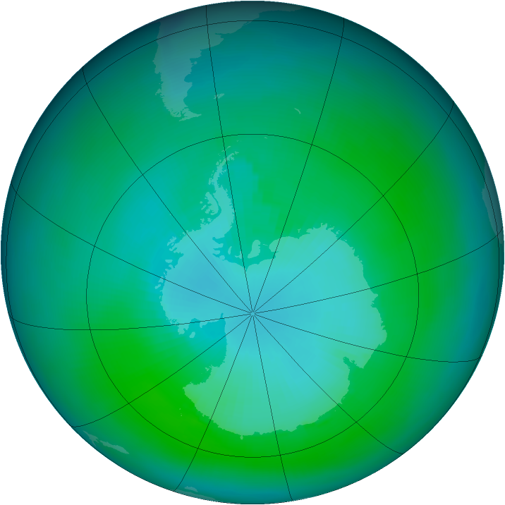 Antarctic ozone map for March 1992