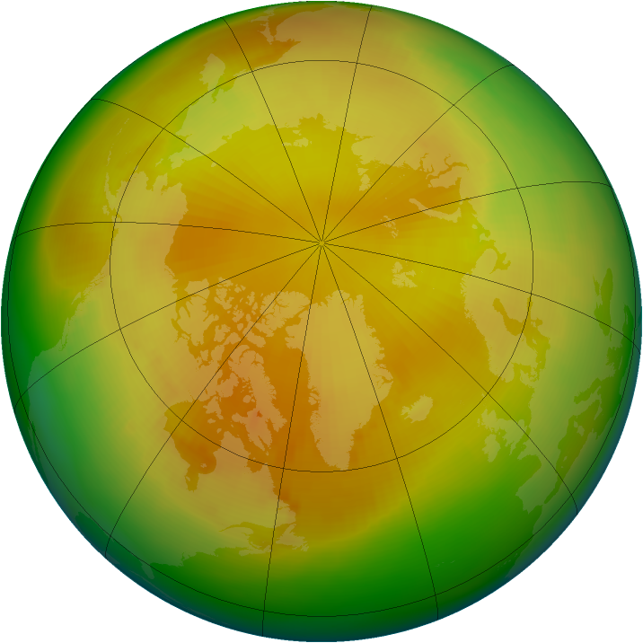 Arctic ozone map for April 1992