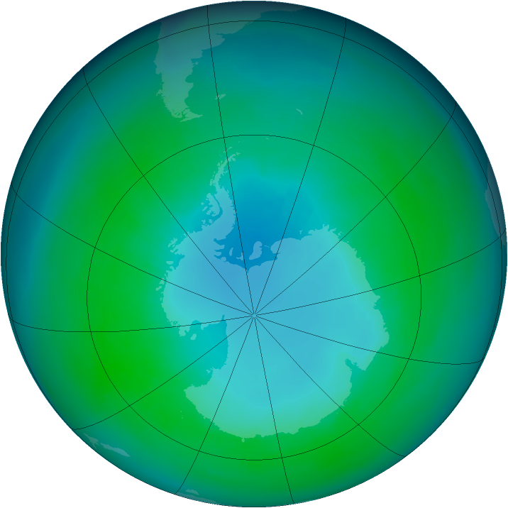 Antarctic ozone map for April 1992