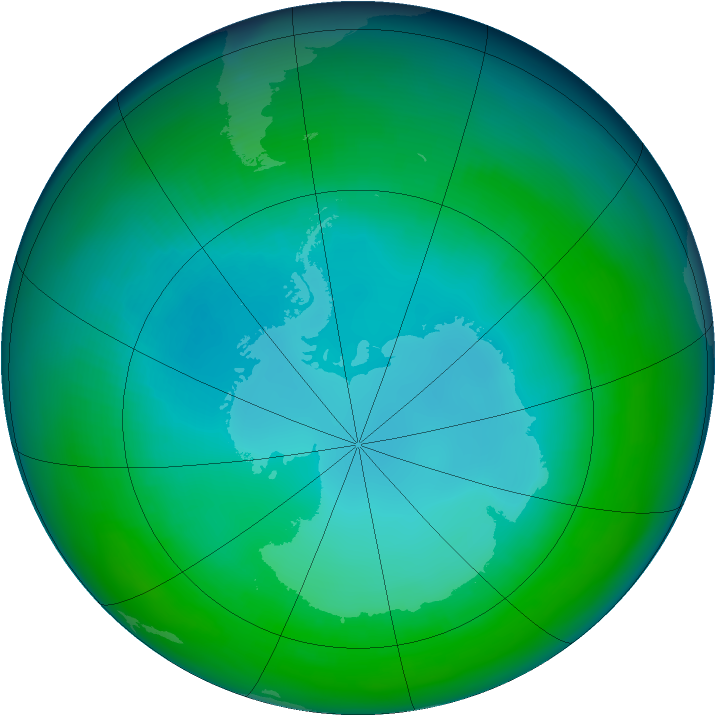 Antarctic ozone map for May 1992