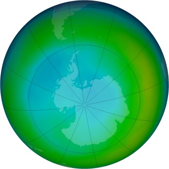 Antarctic ozone map for 1992-06