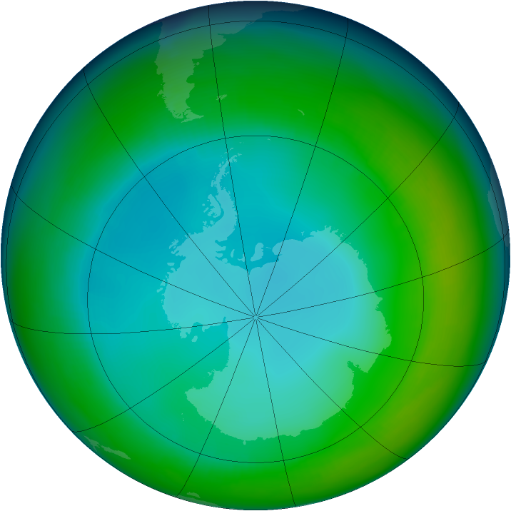 Antarctic ozone map for June 1992