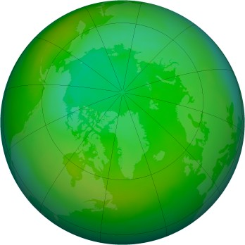 Arctic ozone map for 1992-07