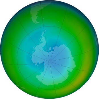 Antarctic ozone map for 1992-07