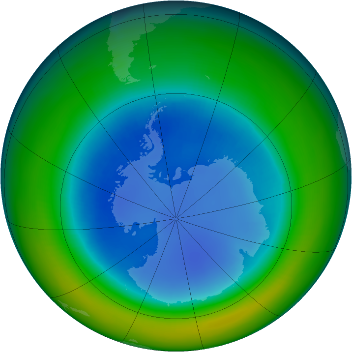 Antarctic ozone map for August 1992