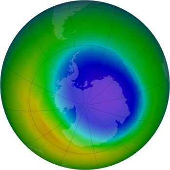 Antarctic ozone map for 1992-10