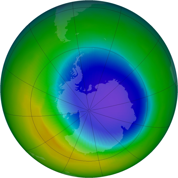 Antarctic ozone map for October 1992