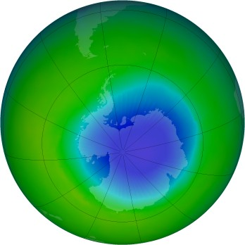 Antarctic ozone map for 1992-11