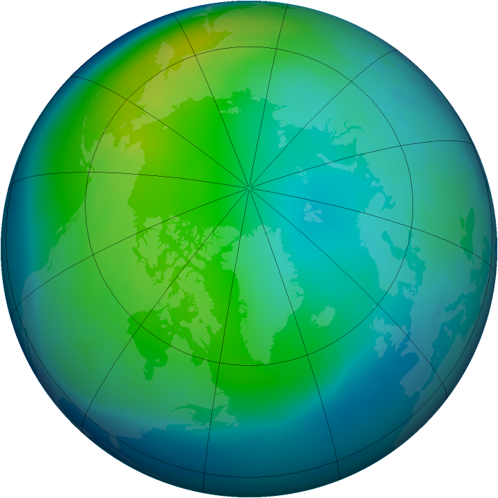 Arctic ozone map for November 1992