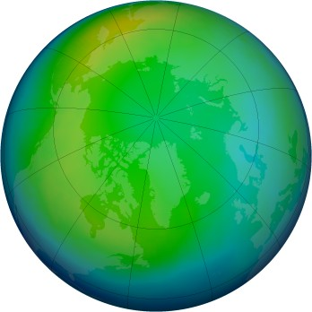 Arctic ozone map for 1992-12