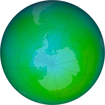 Antarctic ozone map for 1992-12