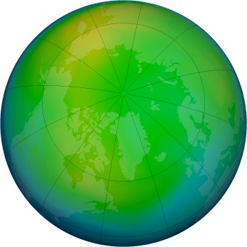 Arctic ozone map for 1993-01