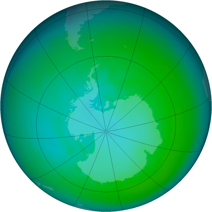 Antarctic ozone map for January 1993
