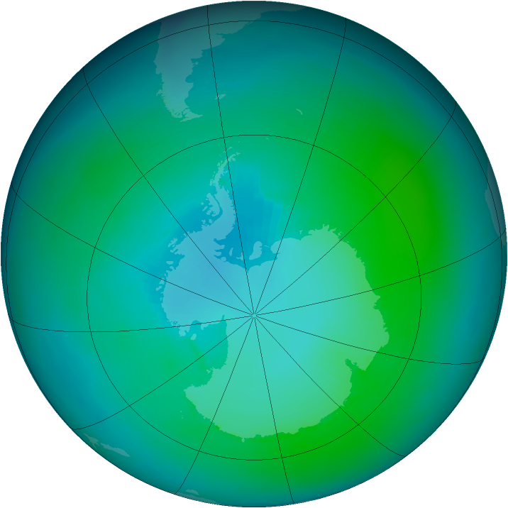 Antarctic ozone map for February 1993