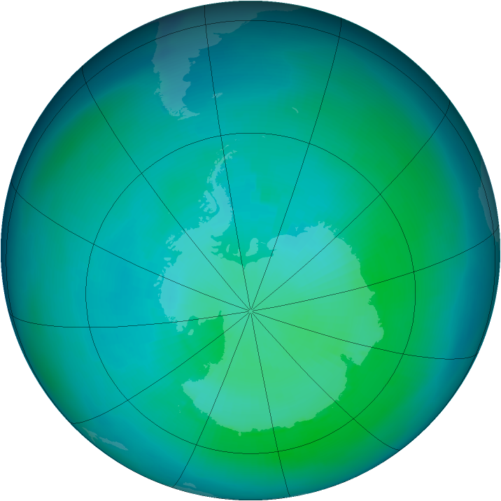 Antarctic ozone map for March 1993