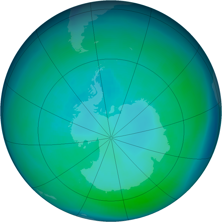 Antarctic ozone map for April 1993