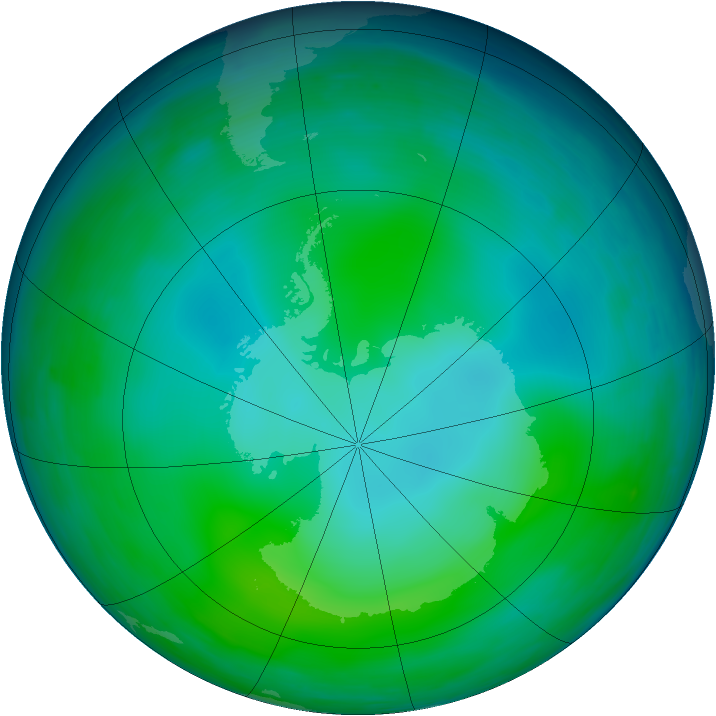 Antarctic ozone map for June 1993
