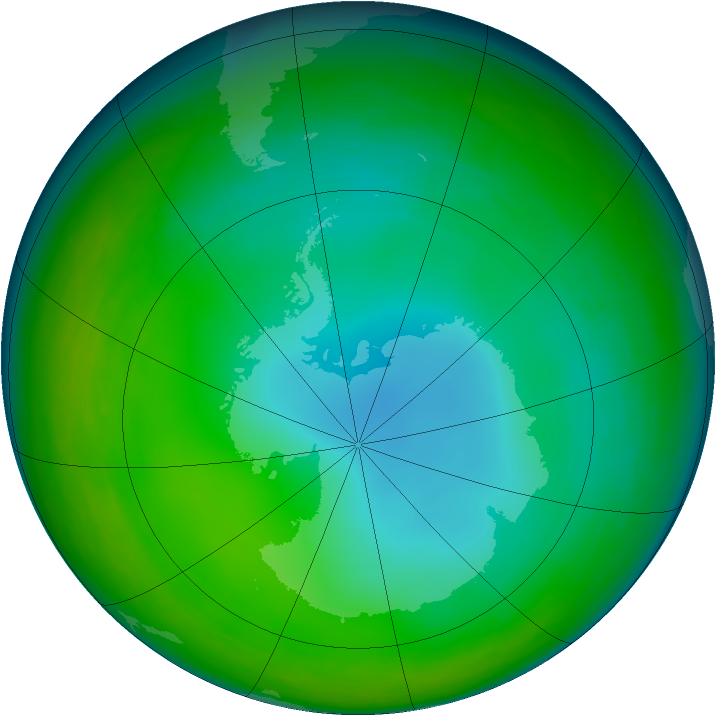 Antarctic ozone map for July 1993
