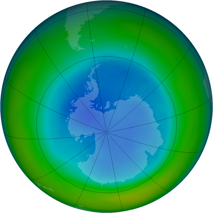 Antarctic ozone map for August 1993