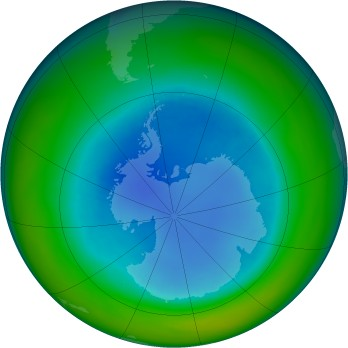 Antarctic ozone map for 1993-08