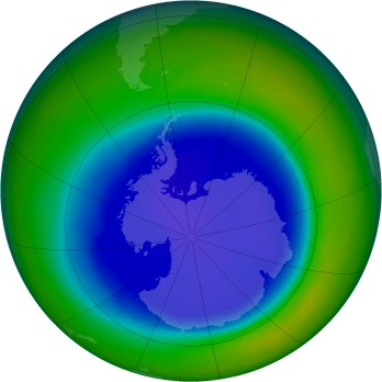 Antarctic ozone map for 1993-09