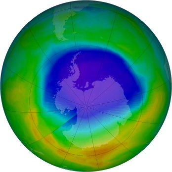 Antarctic ozone map for 1993-10