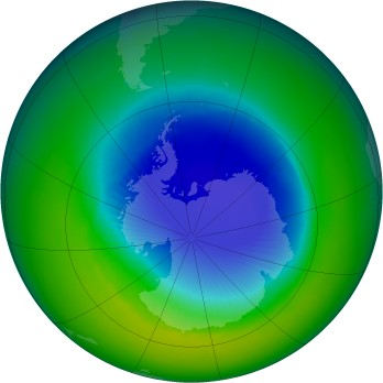 Antarctic ozone map for 1993-11