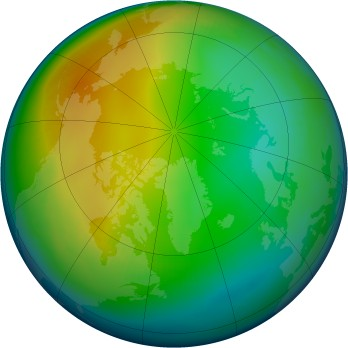 Arctic ozone map for 1993-12