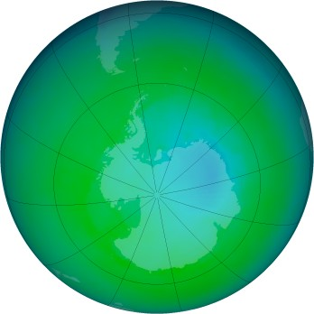Antarctic ozone map for 1993-12