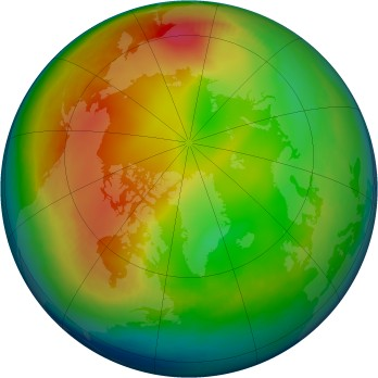 Arctic ozone map for 1994-01