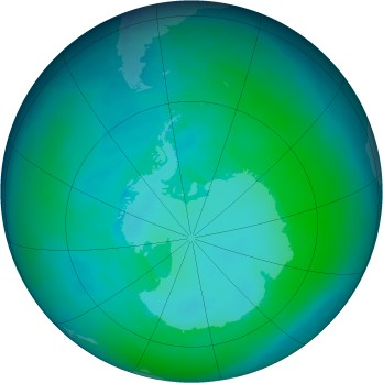 Antarctic ozone map for 1994-01