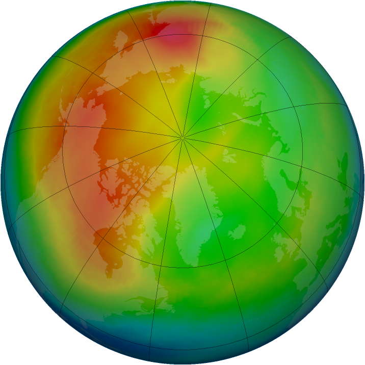 Arctic ozone map for January 1994