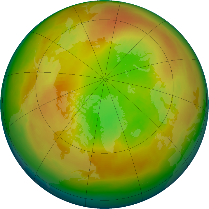 Arctic ozone map for February 1994