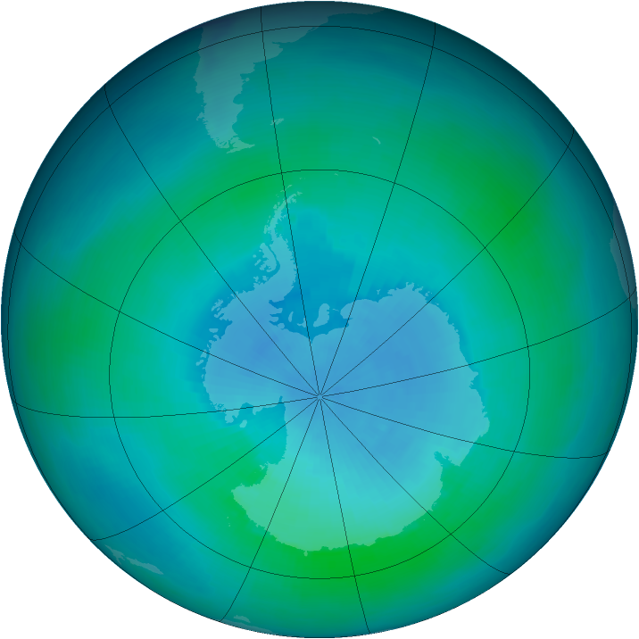 Antarctic ozone map for February 1994