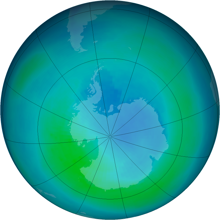 Antarctic ozone map for March 1994