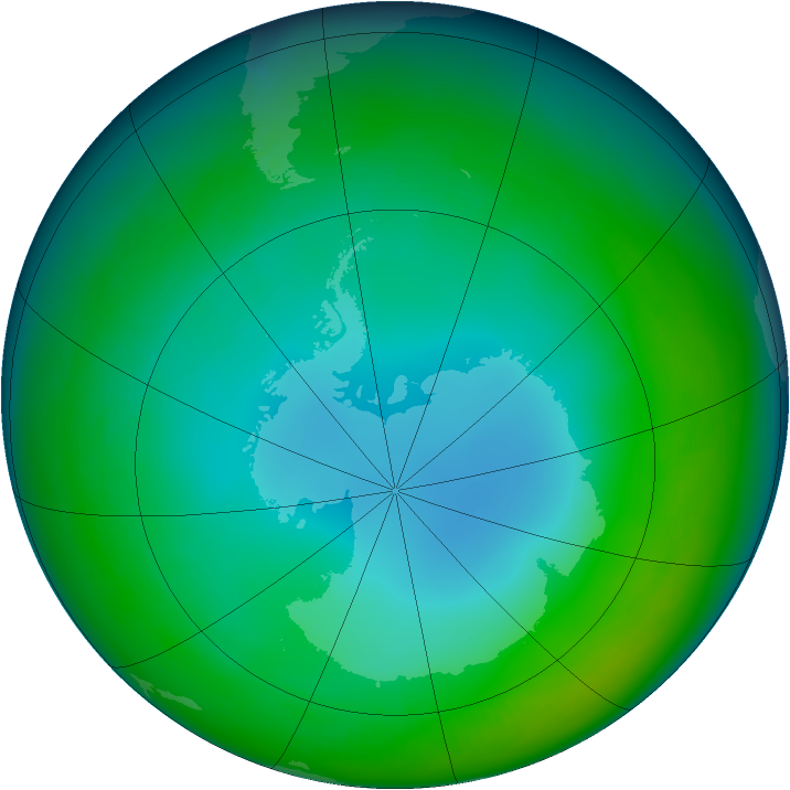 Antarctic ozone map for June 1994