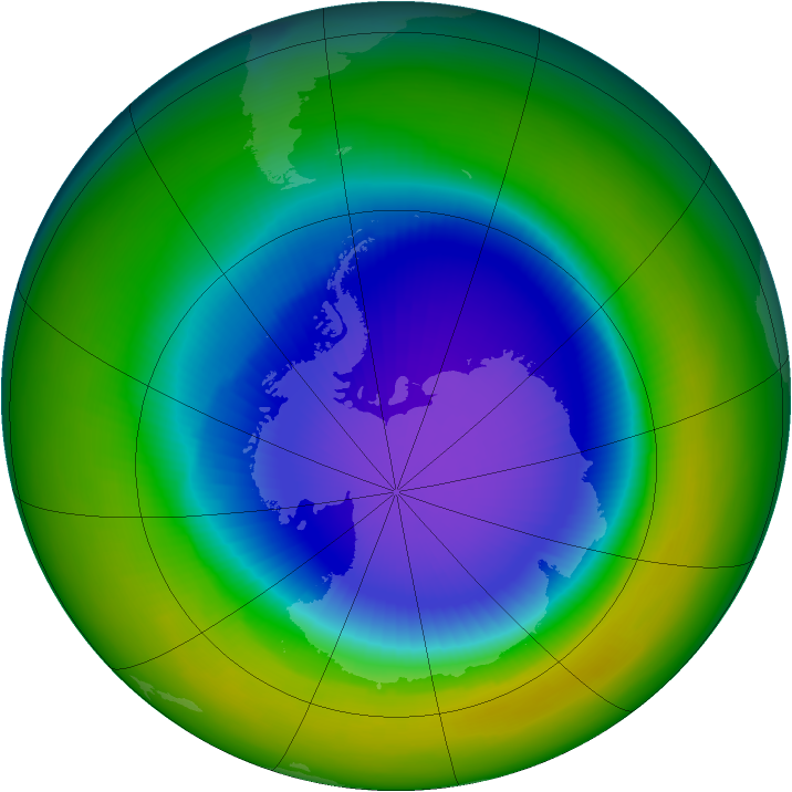 Antarctic ozone map for October 1994